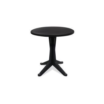 Table de jardin ronde en plastique - Gris - Mobilier de ...