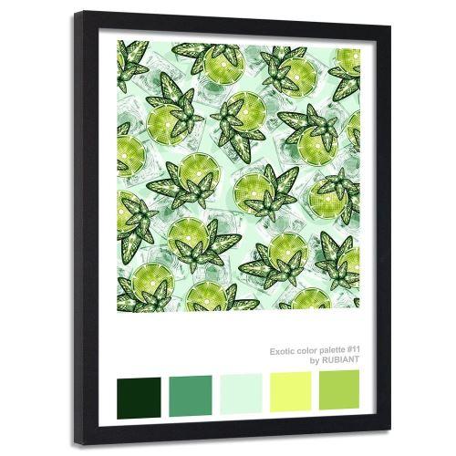 Feeby Image encadrée décorative Tableau cadre mural noir, Citron vert et menthe 40x60 cm