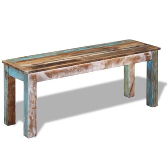 VidaXL Banc en bois solide recyclé recyclé fait à la main 110 x 35 x 45 cm  meubles