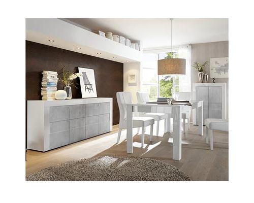 Salle à manger complète blanc laqué brillant et béton FACTORY - Avec rallonge - Blanc - L 92 x P 42 x H 125 cm