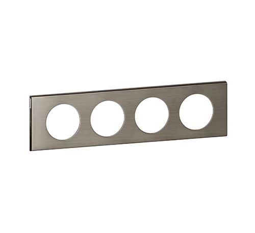 Plaque métallique Céliane - Inox brossé - Quadruple horizontale / verticale 71mm