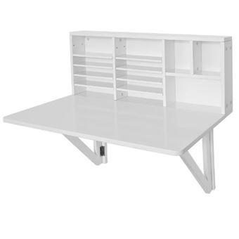 sobuy fwt07 w table murale rabattable avec etag re. Black Bedroom Furniture Sets. Home Design Ideas