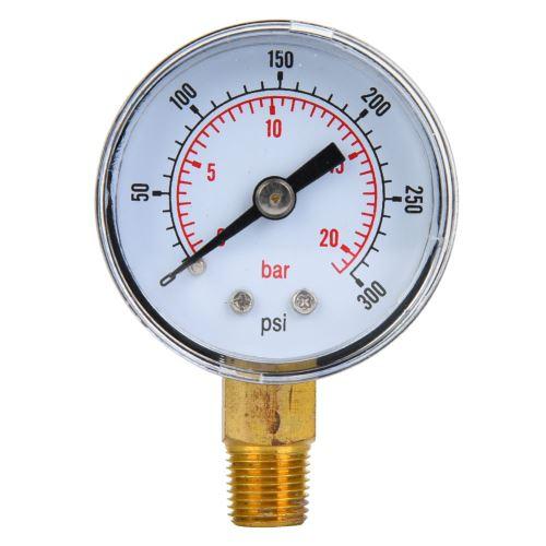 Manomètre Mécanique 1 / 8Inch Bspt Connexion Inférieure pour Air Huile Eau - 0-300Psi 0-20Bar