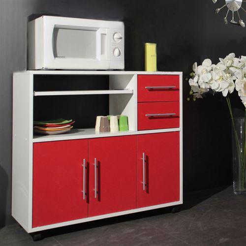 Meuble desserte 3 portes 2 tiroirs sur roulettes L89cm SIMPLY blanc/rouge