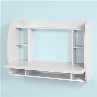 Sobuy Fwt18 W Table Murale Bureau Avec étagère Intégrée Armoire De