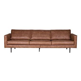 canap vintage cuir marron clair 4 places aspen cuir reconstitu achat prix fnac - Canape Vintage