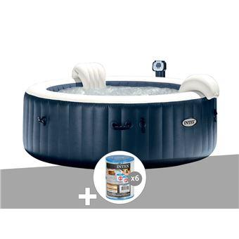 Kit Spa Gonflable Intex Purespa Rond Bulles 6 Places Bleu Nuit