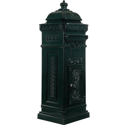 Boîte aux lettres sur pied, style antique anglais, aluminium inox, hauteur: 102,5 cm, coloris : vert, garantie: 3 ans