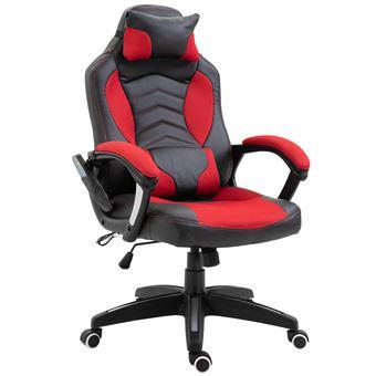 Luxe Fauteuil Chaise De Bureau Gamer Fonction Massage Chauffage Integree Dossier Inclinable Rouge