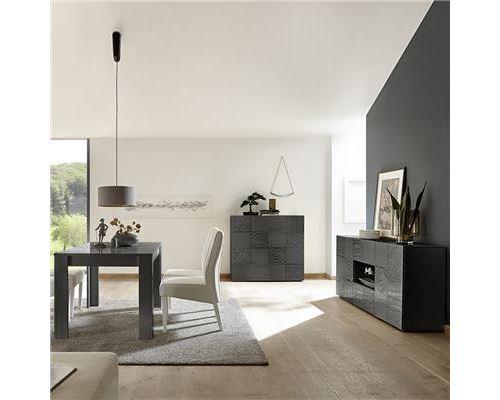 Salle à manger buffet 2 portes 2 tiroirs gris laqué design ELMA 2 - L 180 x P 90 x H 79 cm