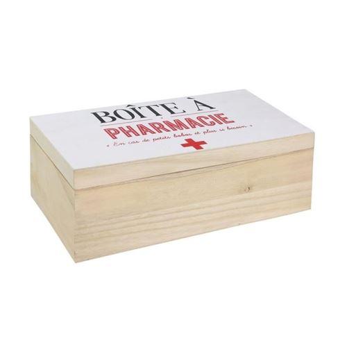 Boite à pharmacie - 27 x 14 x 10 cm - Bois - Beige