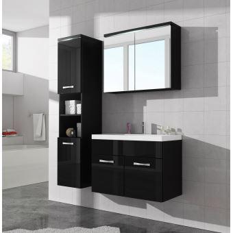 Meuble de salle de bain de paso 80x40cm lavabo noir brillant armoire de rangement meuble - Achat lavabo salle de bain ...