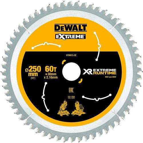 DeWalt XR Extreme Runtime Lame de scie circulaire statique, 1 pièce, 250/30 mm 60 WZ/FZ, dt99573 de QZ