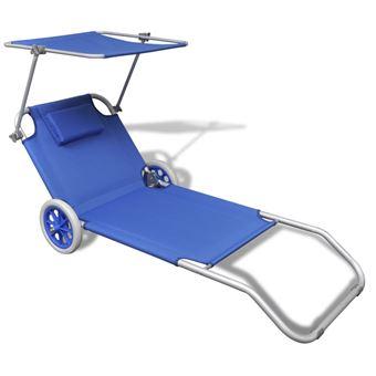 Vidaxl Chaise Longue Pliable Avec Auvent Et Roues Aluminium Bleu Mobilier De Jardin Achat Prix Fnac