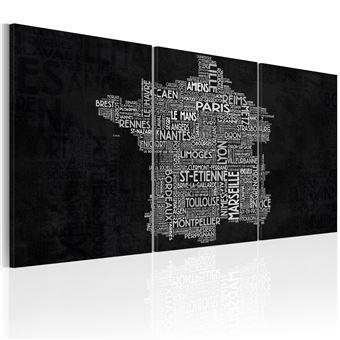 Tableau De Montpellier à Saint 60x30 Cartes Du Monde Etienne Noir Et Blanc