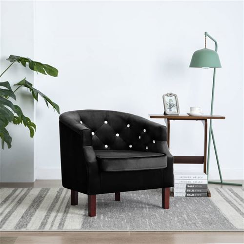 Fauteuil avec revêtement en velours 65 x 64 x 65 cm Noir
