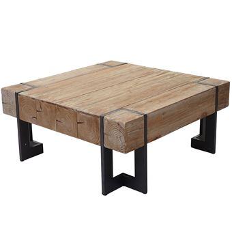 Table basse de salon HWC-A15, table d\'appoint , jardinière, bois massif de  sapin rustique ~ 70x70cm