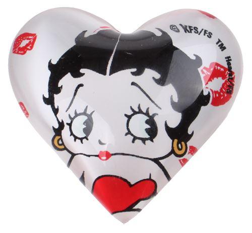 Kamparo aimant coeur Betty Boop 4 cm verre blanc/noir
