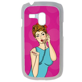 Coque Pin Up Fond Rose Compatible Samsung Galaxy S3 Mini Transparent