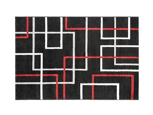 Tapis géométrique CUBIO - 200 x 290 cm - noir, blanc et rouge