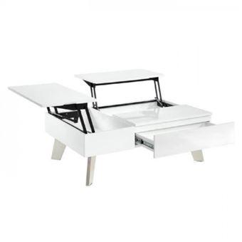 Zanzibar Table Basse Transformable Style Contemporain Laque Blanc Brillant Avec Pieds Chromes L 110 X L 75 Cm