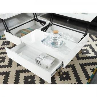 Table Blanc Style Contemporain Zanzibar Transformable Basse Laque gyfb6Y7v