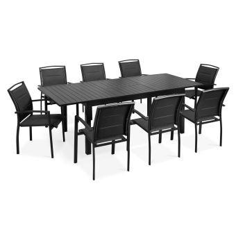 Table de jardin extensible et 8 fauteuils - Noir - Mobilier ...
