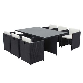salon de jardin miami 6 r sine tress e fauteuils encastrables 6 places chocolat ecru. Black Bedroom Furniture Sets. Home Design Ideas