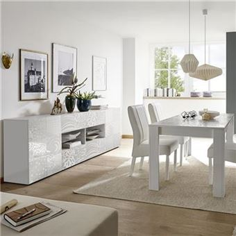 Salle à manger design buffet 241 cm blanc laqué ELMA - L 180 x P 90 x H 79  cm