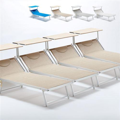 Beach and Garden Design - 4 Bain de soleil transat taille maxi professionnels aluminium lits de plage GRANDE Italia Extralarge, Couleur: Beige