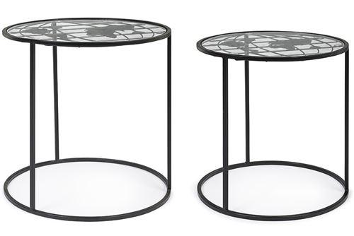 Lot de 2 tables d'appoint gigognes en acier coloris noir -PEGANE-