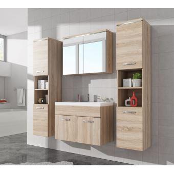 Meuble de salle de bain de paso xl 80x40cm lavabo sonoma armoire de rangement meuble lavabo - Prix d un lavabo de salle de bain ...