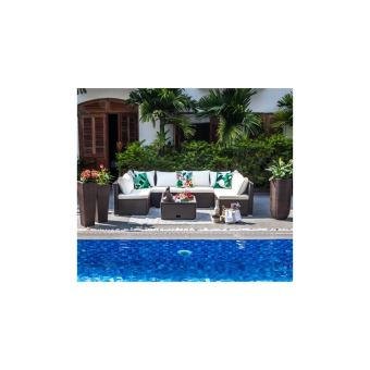 Symi Salon De Jardin En Resine Tressee 5 Places - Canape Modulable De 6  Unites Avec Table Basse