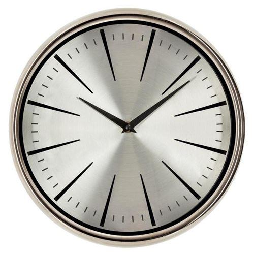 Horloge Murale Design Verre Bombé 30cm Argent
