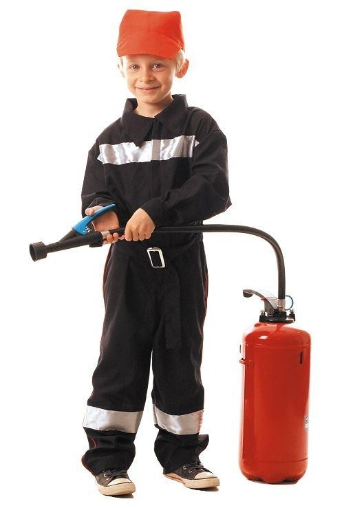 Déguisement pompier enfant 7-9 ans (combinaison + casquette)