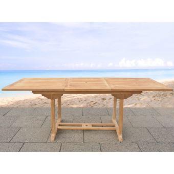 Beliani - Table de jardin - table en bois rectangulaire à rallonges ...
