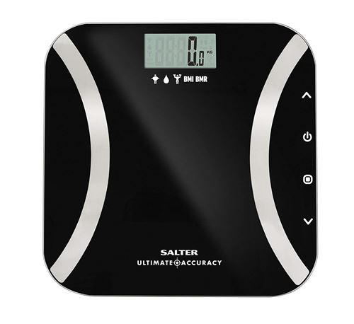 Balances d'analyse numérique de précision ultime Salter - Mesure par 50 g, Lecture instantanée du poids, Graisse corporelle, Eau, Masse maigre, IMC, Mode BMR + Athlète, Mémoire de 12, Garantie 15 ans