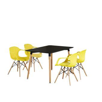 Table Noire & 4 Chaises Modernes Jaunes Alecia Halo - Inspiration Scandinave