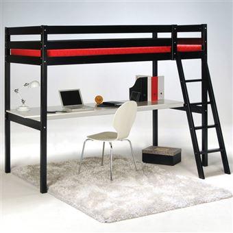 lit mezzanine 90x190 cm bureau sommier en bois. Black Bedroom Furniture Sets. Home Design Ideas