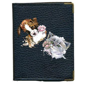 code promo f2c2d fcdac Pochette Etui porte carte bancaire, credit, fidelite en cuir noir pour 24  cartes Chien Chat
