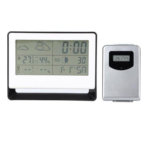 Horloge Numérique Multifonctionnel Station météo RF Récepteur LCD Thermomètre Hygromètre Température Humidité