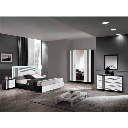 RAVENNE - Chambre Complète 160x200cm Noire et Blanche