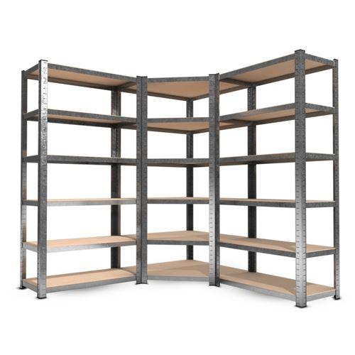 3 Étagères de rangement polyvalentes en métal dont 1 étagère d'angle - Plateaux modulables et charges lourdes pour atelier, garage, outils .. Gris