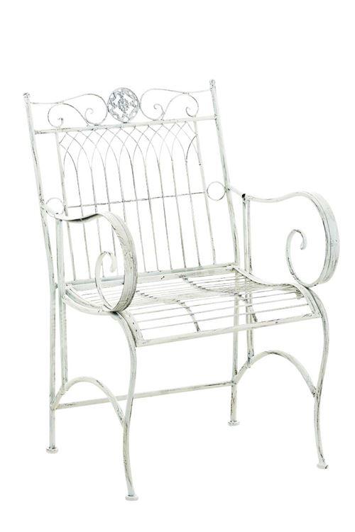Chaise de jardin en fer forgé Purusha , Blanc antique