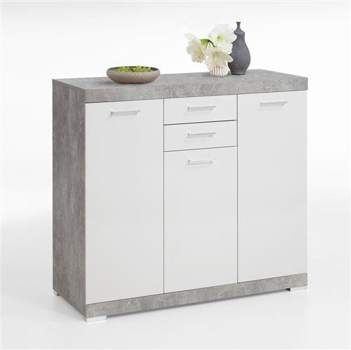 Buffet coloris Gris béton LA / blanc en bois - 120 x 90 x 50 cm -PEGANE-