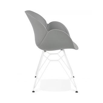 74EUR Sur Chaise Moderne Provoc Grise Avec Pieds En Metal Blanc