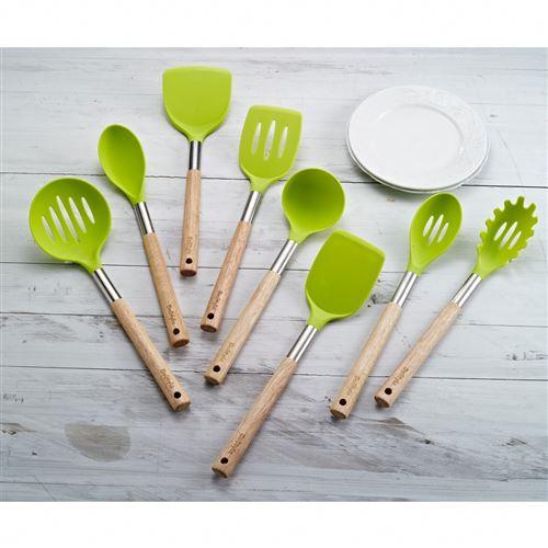 Lot de 8 ustensiles cuisine en silicone avec poignées en bois