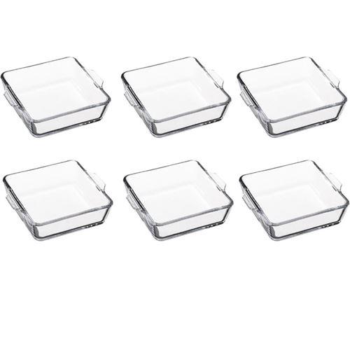 Lot de 6 Mini-Plats Carrés en Verre 15cm Transparent
