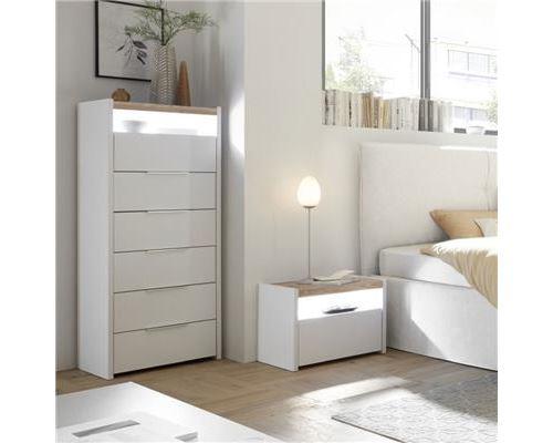 Meuble chiffonnier blanc et couleur bois moderne DEBORAH - L 50 x P 40 x H 140 cm