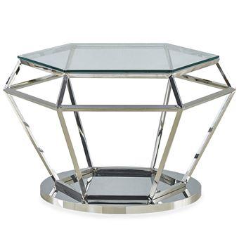 Table Basse Aston En Verre Transparent Et Pied Argent Achat
